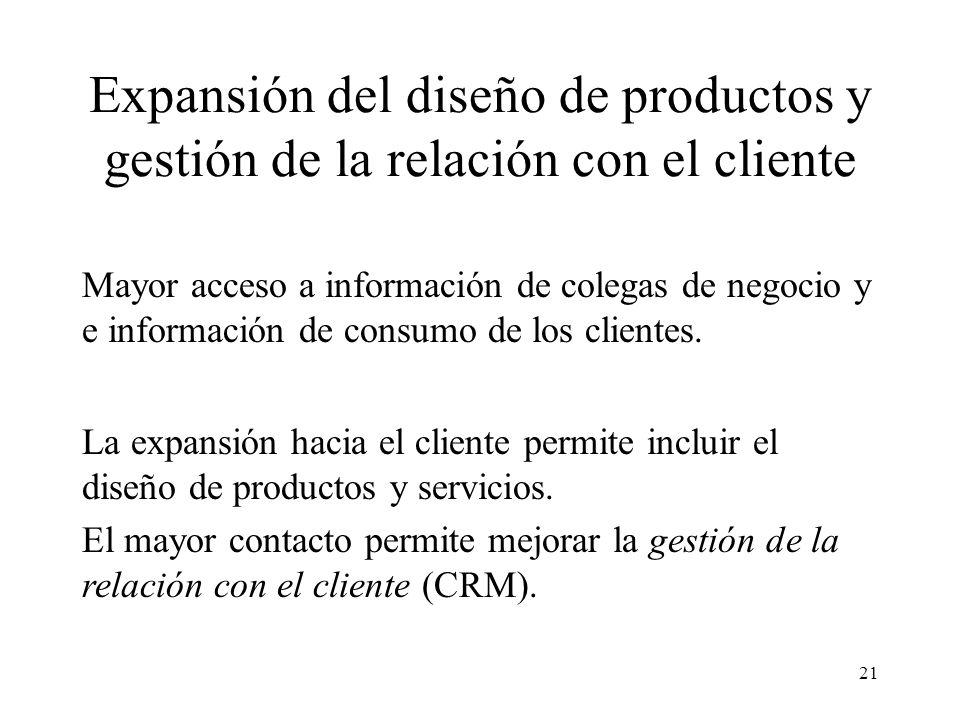 21 Expansión del diseño de productos y gestión de la relación con el cliente Mayor acceso a información de colegas de negocio y e información de consumo de los clientes.