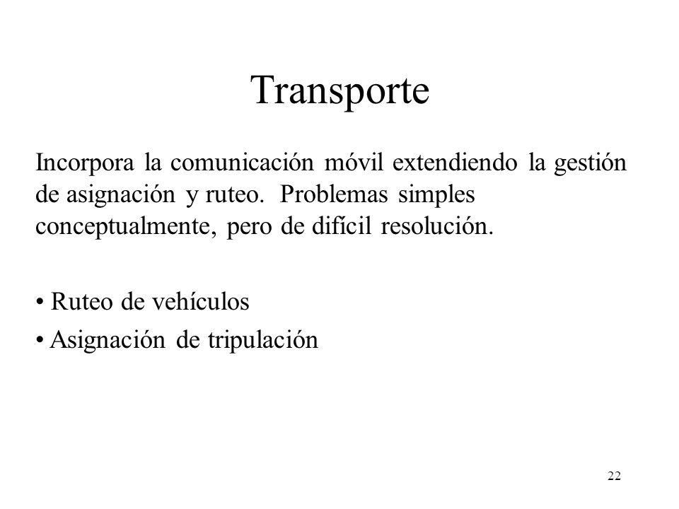 22 Transporte Incorpora la comunicación móvil extendiendo la gestión de asignación y ruteo. Problemas simples conceptualmente, pero de difícil resoluc