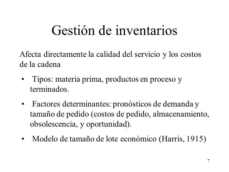 7 Gestión de inventarios Afecta directamente la calidad del servicio y los costos de la cadena Tipos: materia prima, productos en proceso y terminados.