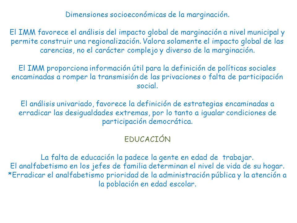 Dimensiones socioeconómicas de la marginación.