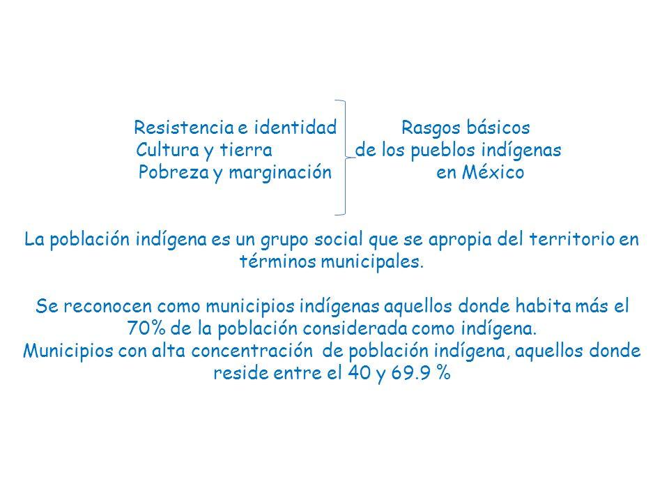 Resistencia e identidad Rasgos básicos Cultura y tierra de los pueblos indígenas Pobreza y marginación en México La población indígena es un grupo social que se apropia del territorio en términos municipales.