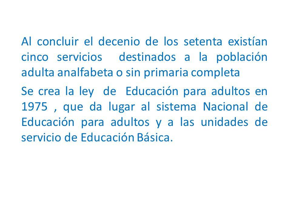 Al concluir el decenio de los setenta existían cinco servicios destinados a la población adulta analfabeta o sin primaria completa Se crea la ley de Educación para adultos en 1975, que da lugar al sistema Nacional de Educación para adultos y a las unidades de servicio de Educación Básica.