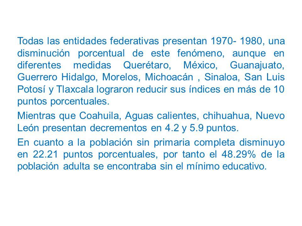 Todas las entidades federativas presentan 1970- 1980, una disminución porcentual de este fenómeno, aunque en diferentes medidas Querétaro, México, Guanajuato, Guerrero Hidalgo, Morelos, Michoacán, Sinaloa, San Luis Potosí y Tlaxcala lograron reducir sus índices en más de 10 puntos porcentuales.