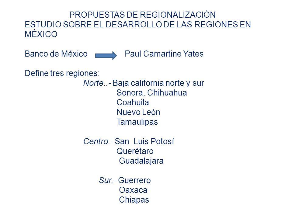 PROPUESTAS DE REGIONALIZACIÓN ESTUDIO SOBRE EL DESARROLLO DE LAS REGIONES EN MÉXICO Banco de México Paul Camartine Yates Define tres regiones: Norte..- Baja california norte y sur Sonora, Chihuahua Coahuila Nuevo León Tamaulipas Centro.- San Luis Potosí Querétaro Guadalajara Sur.- Guerrero Oaxaca Chiapas