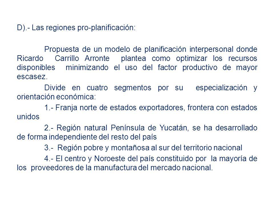 D).- Las regiones pro-planificación: Propuesta de un modelo de planificación interpersonal donde Ricardo Carrillo Arronte plantea como optimizar los recursos disponibles minimizando el uso del factor productivo de mayor escasez.