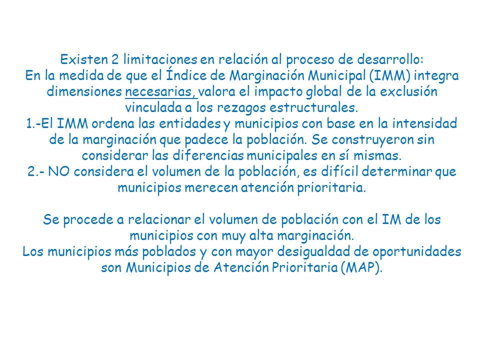Ingresos Monetarios y dispersión de la Población La marginación está íntimamente ligada a la distribución de la población en el territorio.