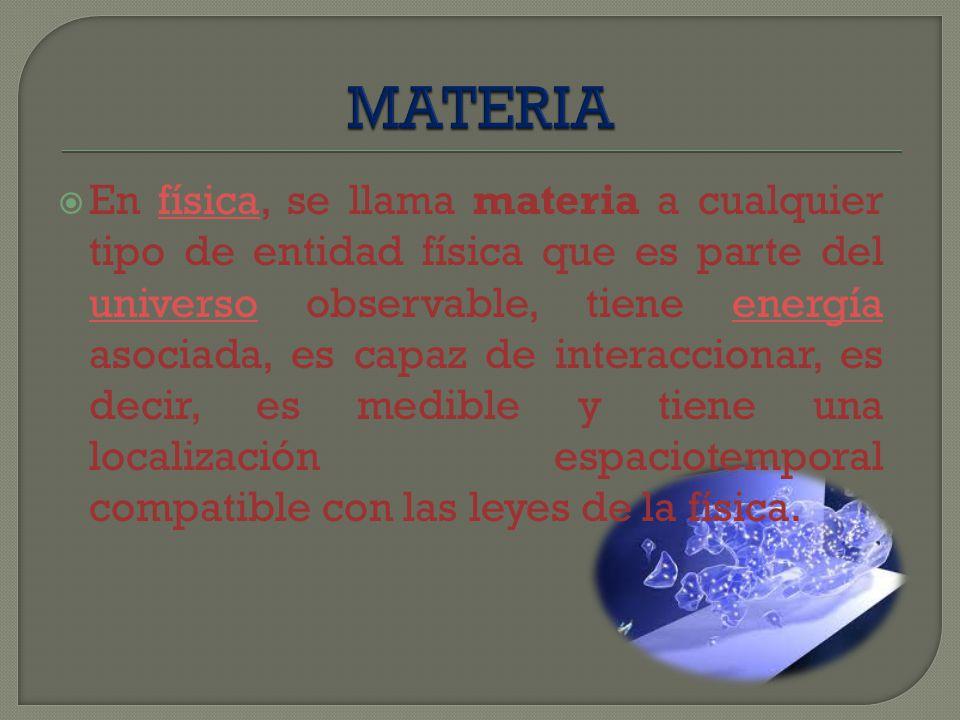 La definición común de materia es algo que posee masa y volumen.