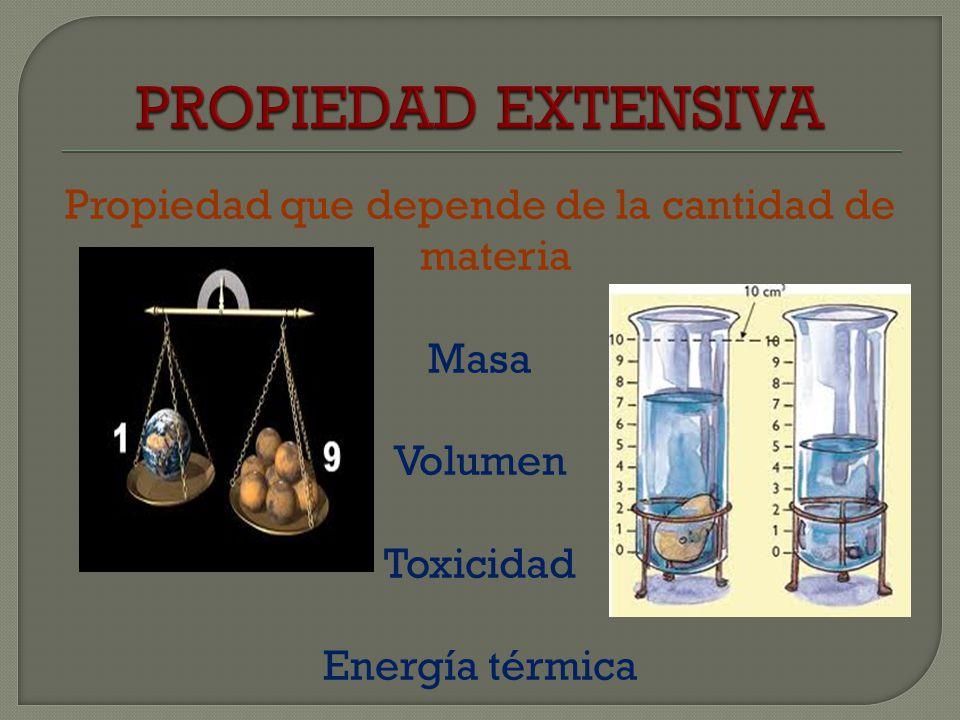 Propiedad que es independiente de la cantidad de materia Color Densidad Temperatura Punto de fusión