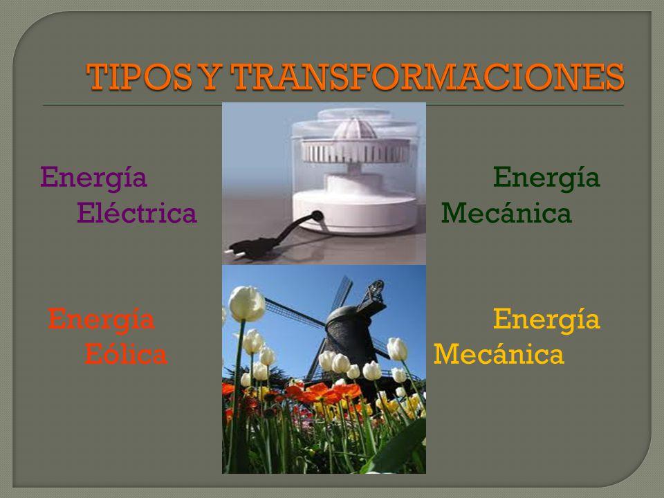Energía Química Mecánica Energía Eléctrica Eolíca