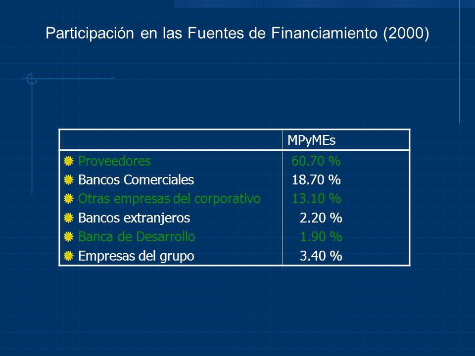 Participación en las Fuentes de Financiamiento (2000) MPyMEs Proveedores Bancos Comerciales Otras empresas del corporativo Bancos extranjeros Banca de
