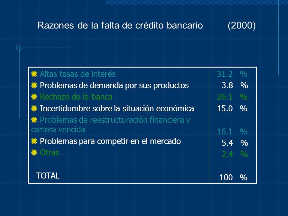Razones de la falta de crédito bancario (2000) Altas tasas de interés Problemas de demanda por sus productos Rechazo de la banca Incertidumbre sobre l