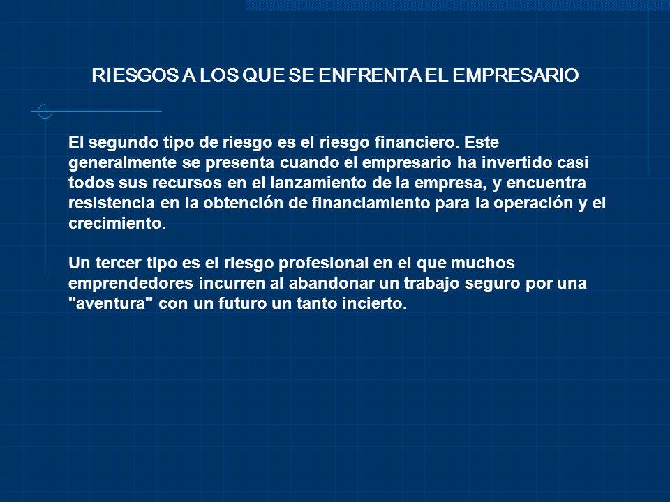 RIESGOS A LOS QUE SE ENFRENTA EL EMPRESARIO El segundo tipo de riesgo es el riesgo financiero. Este generalmente se presenta cuando el empresario ha i