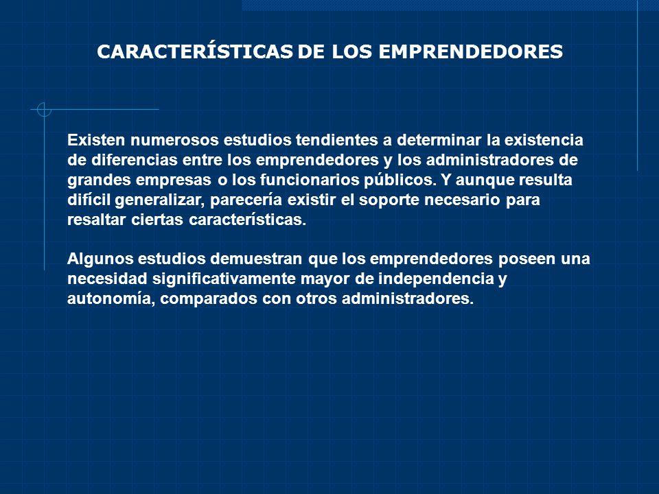 CARACTERÍSTICAS DE LOS EMPRENDEDORES Existen numerosos estudios tendientes a determinar la existencia de diferencias entre los emprendedores y los adm