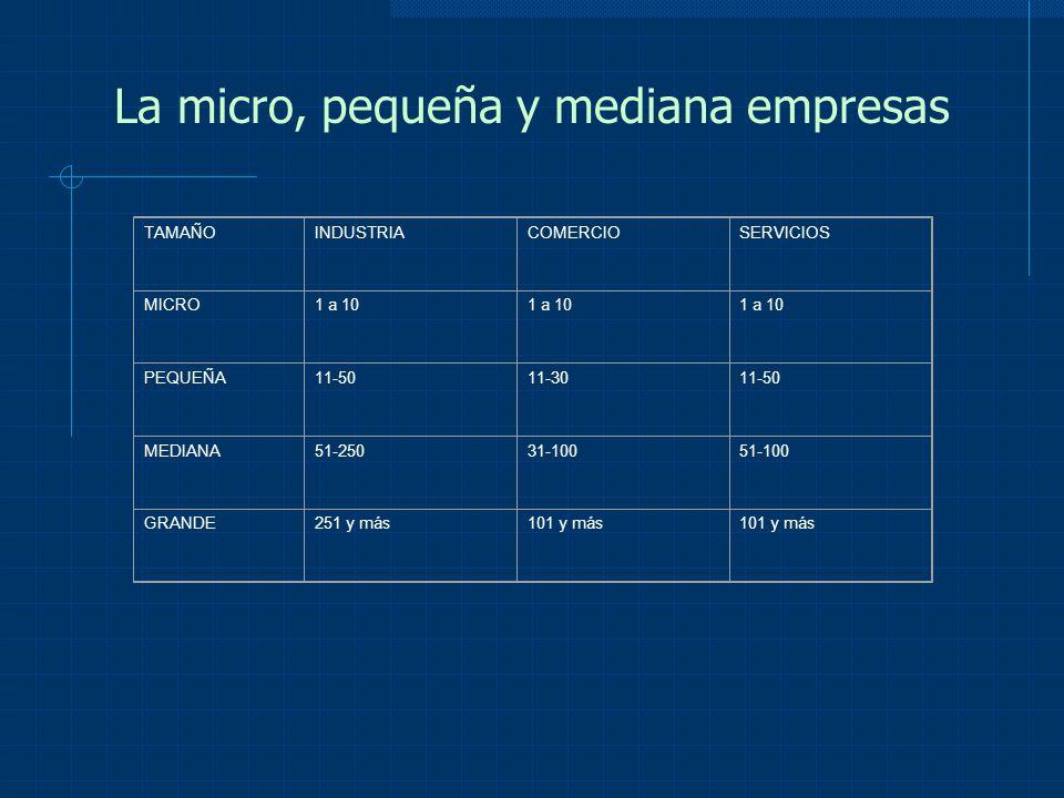 La micro, pequeña y mediana empresas TAMAÑOINDUSTRIACOMERCIOSERVICIOS MICRO1 a 10 PEQUEÑA11-50 11-30 11-50 MEDIANA51-250 31-100 51-100 GRANDE 251 y má