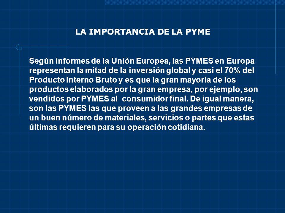 LA IMPORTANCIA DE LA PYME Según informes de la Unión Europea, las PYMES en Europa representan la mitad de la inversión global y casi el 70% del Produc