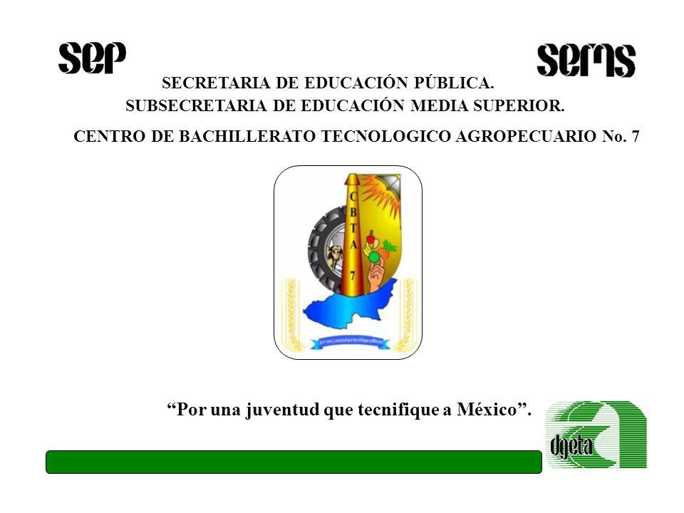 SECRETARIA DE EDUCACIÓN PÚBLICA. SUBSECRETARIA DE EDUCACIÓN MEDIA SUPERIOR. CENTRO DE BACHILLERATO TECNOLOGICO AGROPECUARIO No. 7 Por una juventud que
