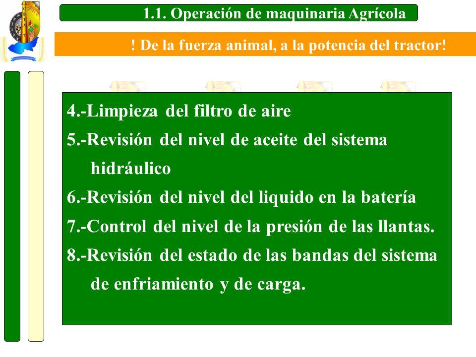 1.1. Operación de maquinaria Agrícola 4.-Limpieza del filtro de aire 5.-Revisión del nivel de aceite del sistema hidráulico 6.-Revisión del nivel del