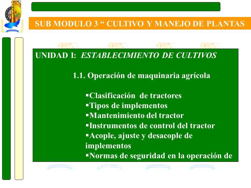UNIDAD I: ESTABLECIMIENTO DE CULTIVOS 1.1. Operación de maquinaria agrícola Clasificación de tractores Tipos de implementos Mantenimiento del tractor
