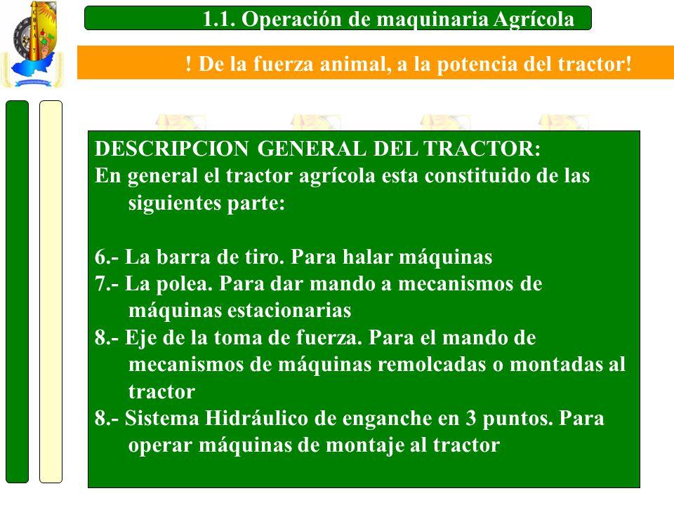 1.1. Operación de maquinaria Agrícola DESCRIPCION GENERAL DEL TRACTOR: En general el tractor agrícola esta constituido de las siguientes parte: 6.- La