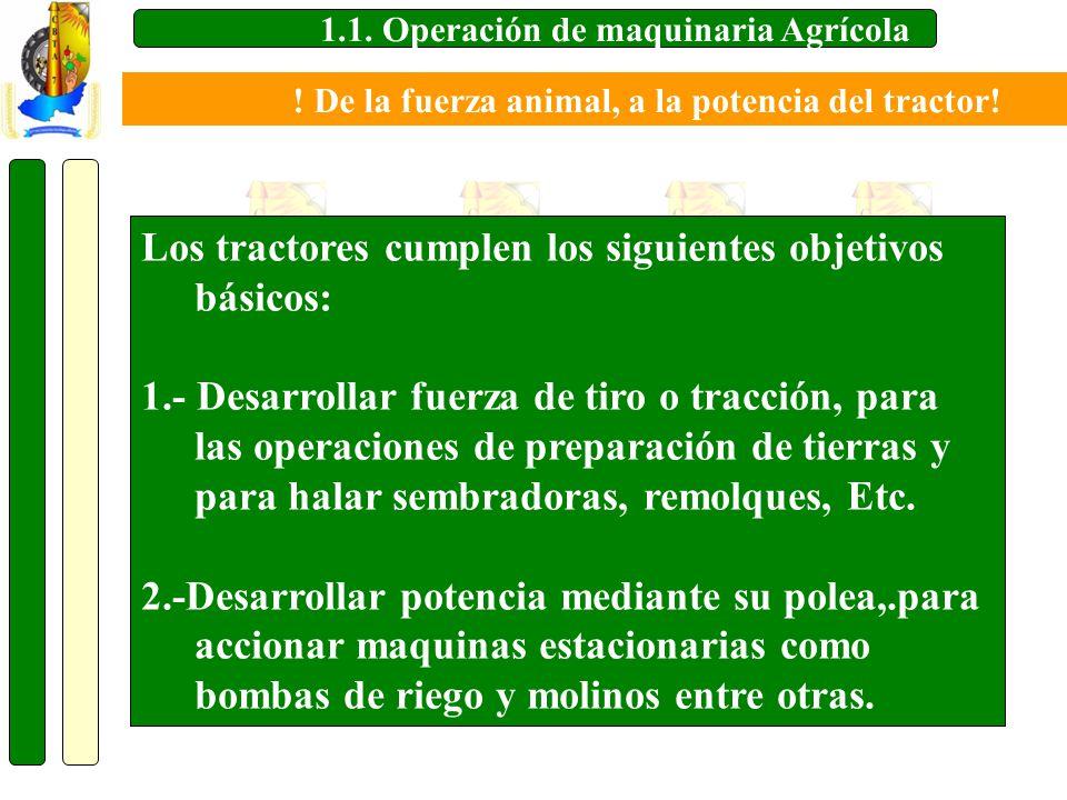 1.1. Operación de maquinaria Agrícola Los tractores cumplen los siguientes objetivos básicos: 1.- Desarrollar fuerza de tiro o tracción, para las oper