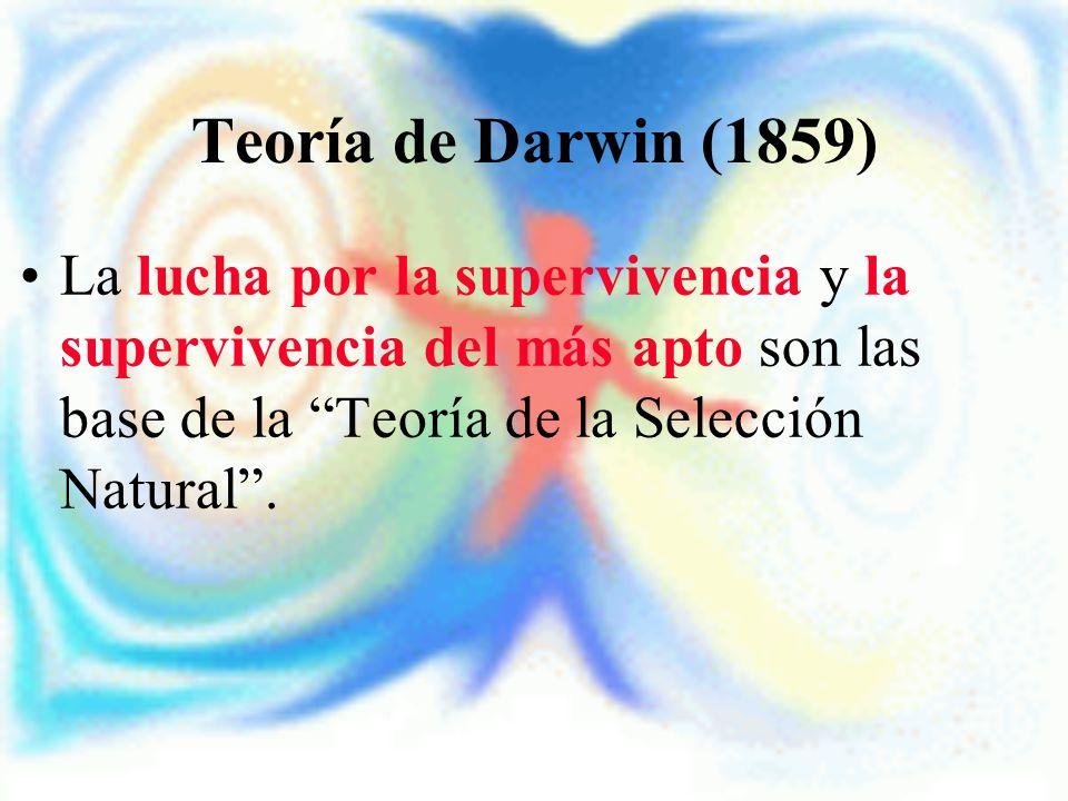 Teoría de Darwin (1859) La lucha por la supervivencia y la supervivencia del más apto son las base de la Teoría de la Selección Natural.