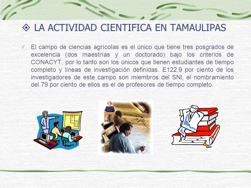 LA ACTIVIDAD CIENTIFICA EN TAMAULIPAS El campo de ciencias agrícolas es el único que tiene tres posgrados de excelencia (dos maestrías y un doctorado)