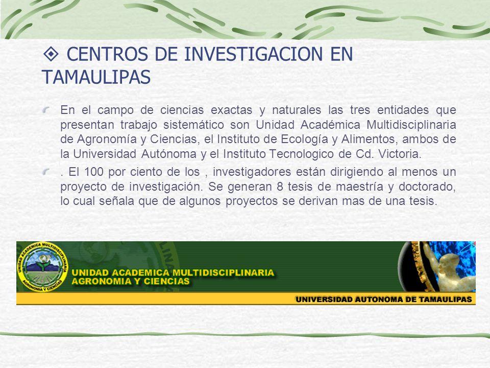 CENTROS DE INVESTIGACION EN TAMAULIPAS En el campo de ciencias exactas y naturales las tres entidades que presentan trabajo sistemático son Unidad Aca