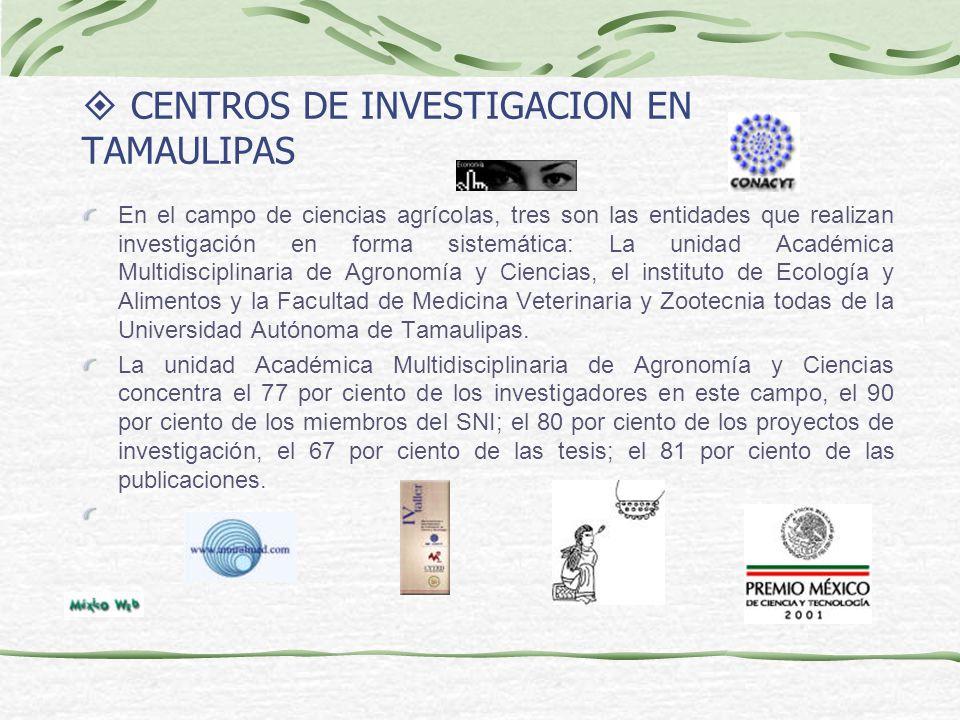 CENTROS DE INVESTIGACION EN TAMAULIPAS En el campo de ciencias agrícolas, tres son las entidades que realizan investigación en forma sistemática: La unidad Académica Multidisciplinaria de Agronomía y Ciencias, el instituto de Ecología y Alimentos y la Facultad de Medicina Veterinaria y Zootecnia todas de la Universidad Autónoma de Tamaulipas.