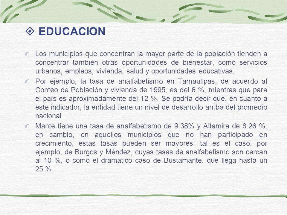 EDUCACION Los municipios que concentran la mayor parte de la población tienden a concentrar también otras oportunidades de bienestar, como servicios urbanos, empleos, vivienda, salud y oportunidades educativas.