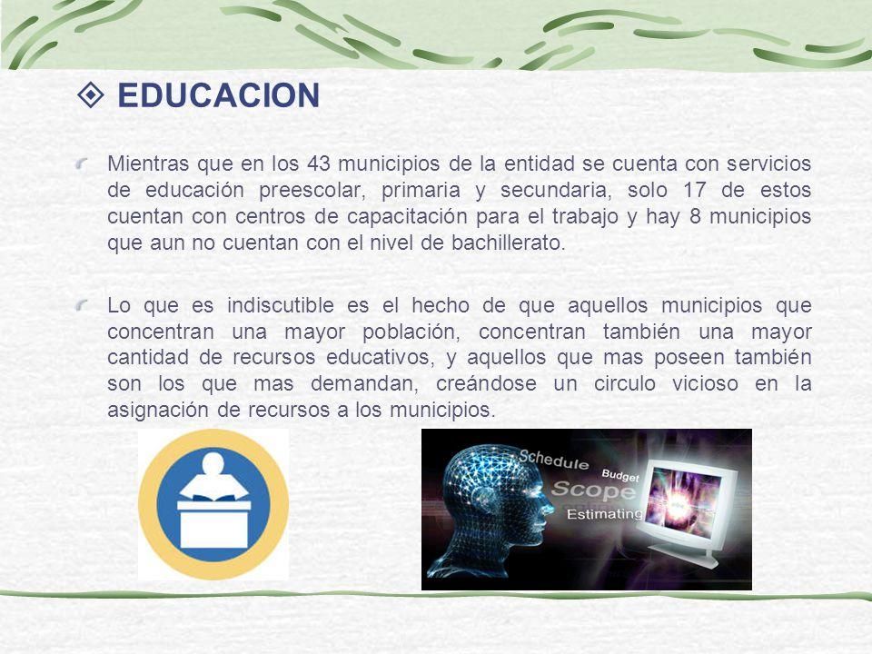 EDUCACION Mientras que en los 43 municipios de la entidad se cuenta con servicios de educación preescolar, primaria y secundaria, solo 17 de estos cue
