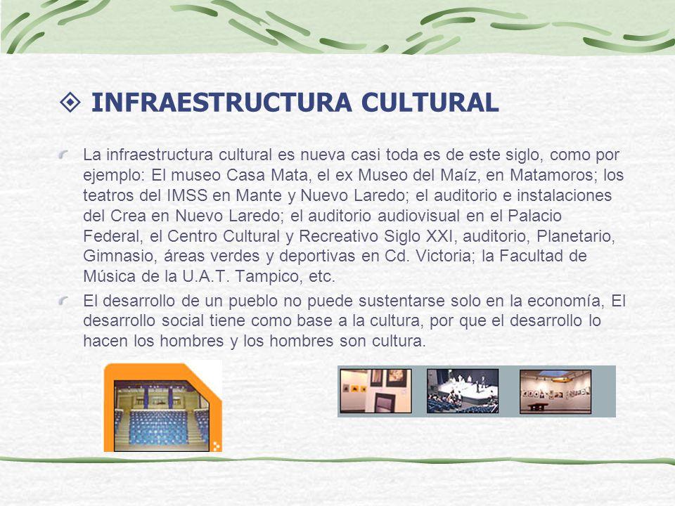 INFRAESTRUCTURA CULTURAL La infraestructura cultural es nueva casi toda es de este siglo, como por ejemplo: El museo Casa Mata, el ex Museo del Maíz, en Matamoros; los teatros del IMSS en Mante y Nuevo Laredo; el auditorio e instalaciones del Crea en Nuevo Laredo; el auditorio audiovisual en el Palacio Federal, el Centro Cultural y Recreativo Siglo XXI, auditorio, Planetario, Gimnasio, áreas verdes y deportivas en Cd.