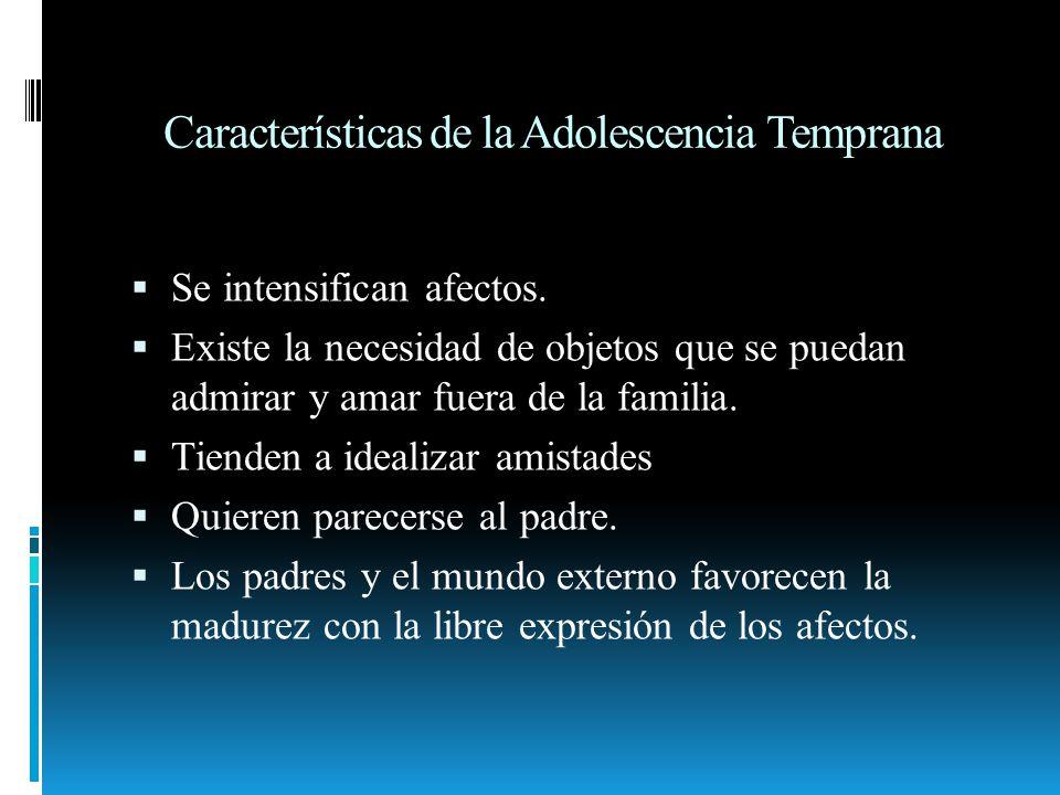 Características de la Adolescencia Temprana Se intensifican afectos. Existe la necesidad de objetos que se puedan admirar y amar fuera de la familia.