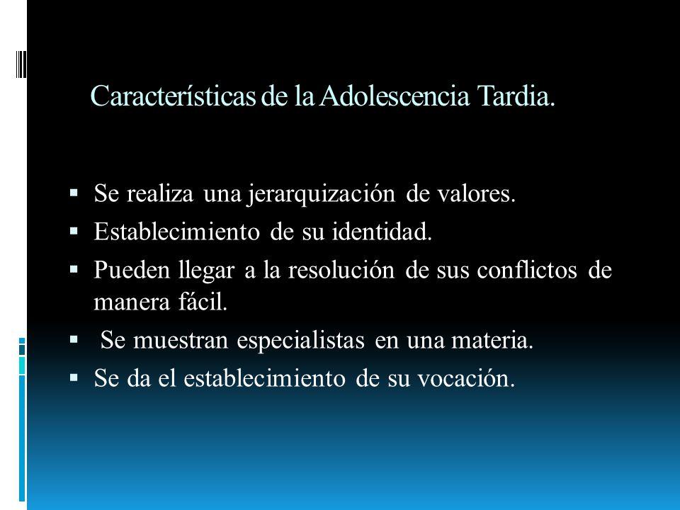 Características de la Adolescencia Tardia. Se realiza una jerarquización de valores. Establecimiento de su identidad. Pueden llegar a la resolución de