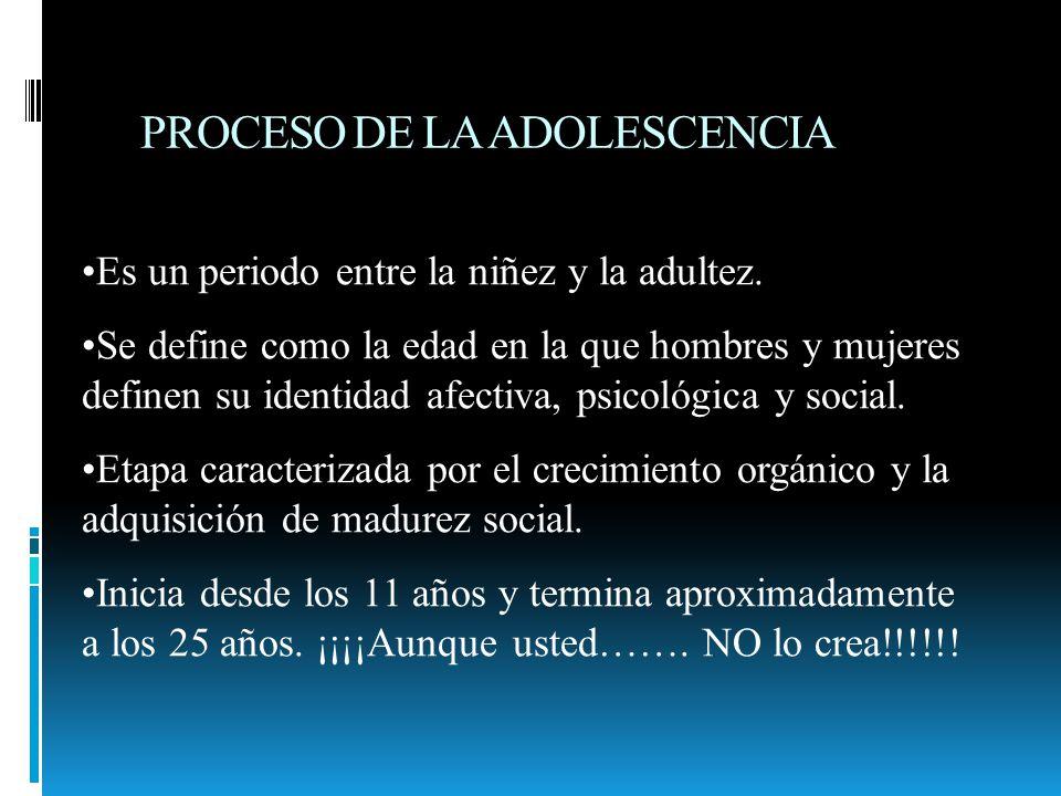 PROCESO DE LA ADOLESCENCIA Es un periodo entre la niñez y la adultez. Se define como la edad en la que hombres y mujeres definen su identidad afectiva