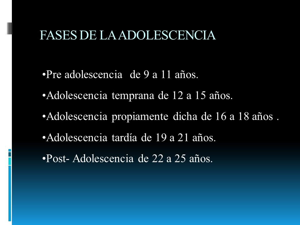 FASES DE LA ADOLESCENCIA Pre adolescencia de 9 a 11 años. Adolescencia temprana de 12 a 15 años. Adolescencia propiamente dicha de 16 a 18 años. Adole