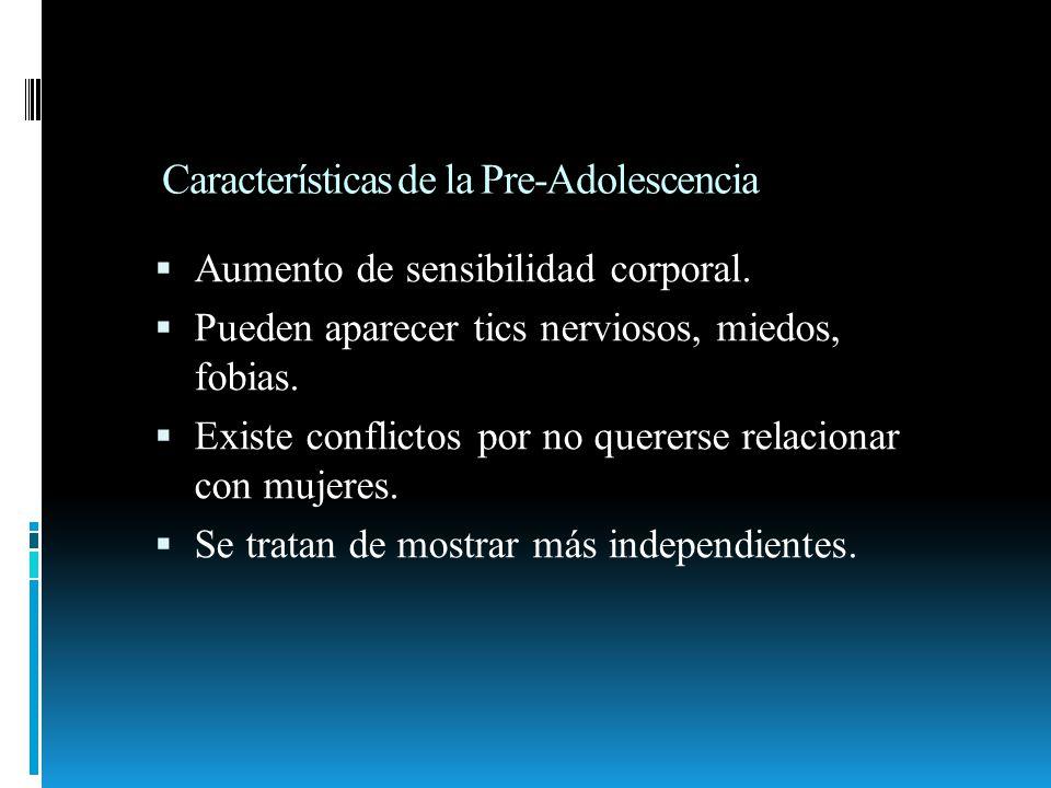 Características de la Adolescencia propiamente Dicha Se dan cuenta de la sensación de procreación.