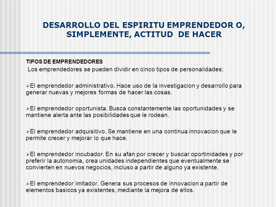 DESARROLLO DEL ESPIRITU EMPRENDEDOR O, SIMPLEMENTE, ACTITUD DE HACER TIPOS DE EMPRENDEDORES Los emprendedores se pueden dividir en cinco tipos de pers