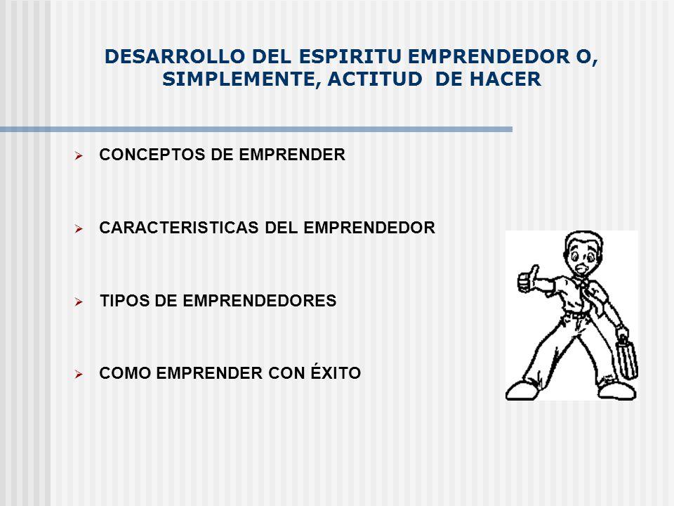 DESARROLLO DEL ESPIRITU EMPRENDEDOR O, SIMPLEMENTE, ACTITUD DE HACER CONCEPTOS DE EMPRENDER CARACTERISTICAS DEL EMPRENDEDOR TIPOS DE EMPRENDEDORES COM