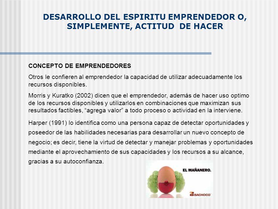 DESARROLLO DEL ESPIRITU EMPRENDEDOR O, SIMPLEMENTE, ACTITUD DE HACER CONCEPTO DE EMPRENDEDORES Otros le confieren al emprendedor la capacidad de utili