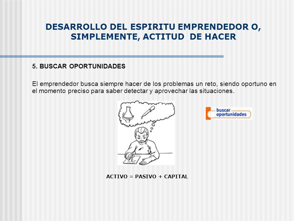 DESARROLLO DEL ESPIRITU EMPRENDEDOR O, SIMPLEMENTE, ACTITUD DE HACER 6.