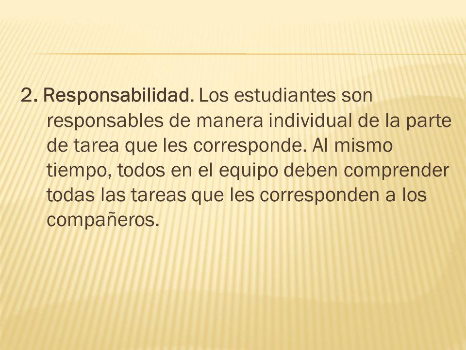 2. Responsabilidad. Los estudiantes son responsables de manera individual de la parte de tarea que les corresponde. Al mismo tiempo, todos en el equip