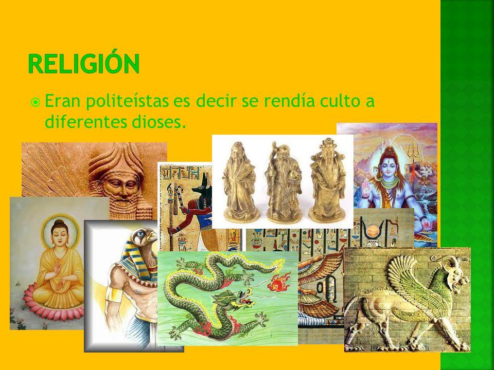 Eran politeístas es decir se rendía culto a diferentes dioses.