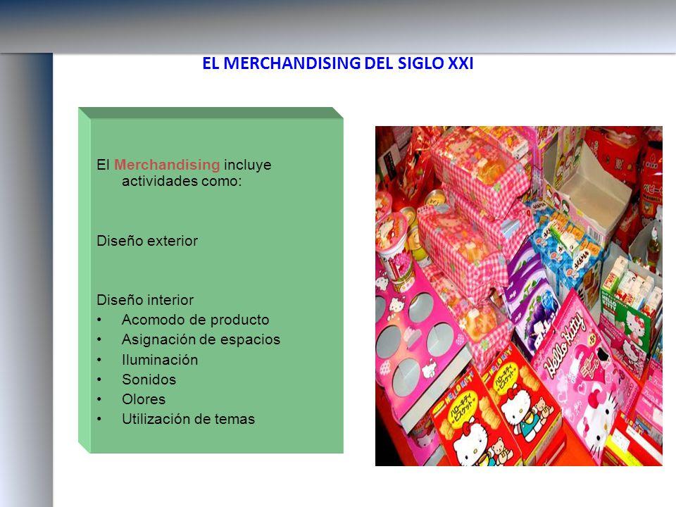 EL MERCHANDISING DEL SIGLO XXI El Merchandising incluye actividades como: Diseño exterior Diseño interior Acomodo de producto Asignación de espacios I