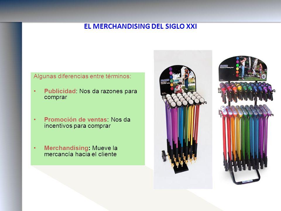 EL MERCHANDISING DEL SIGLO XXI Algunas diferencias entre términos: Publicidad: Nos da razones para comprar Promoción de ventas: Nos da incentivos para