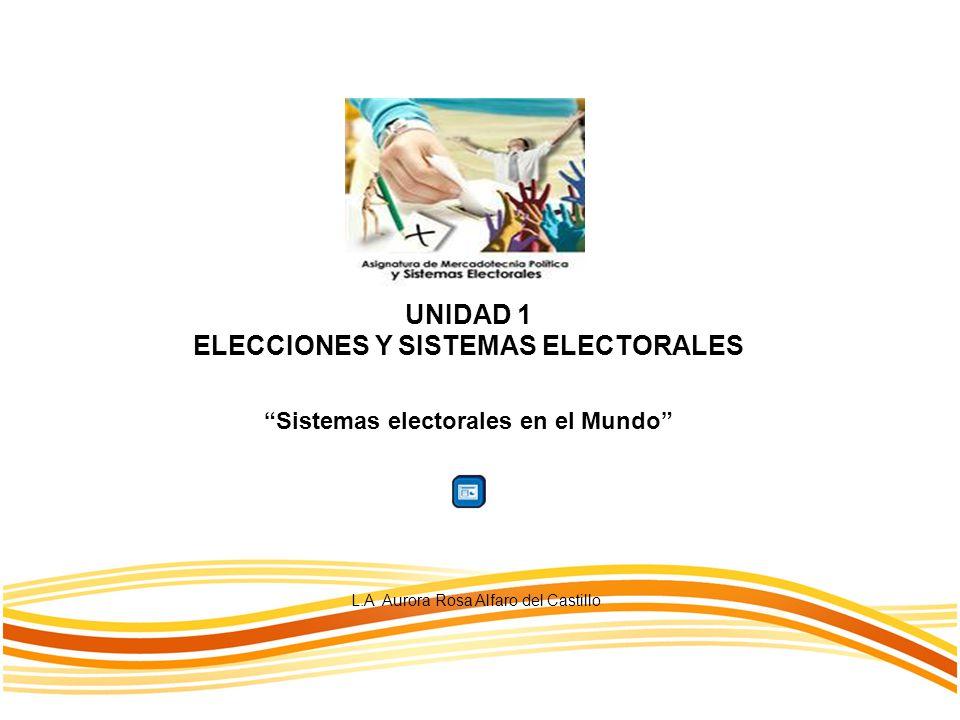 UNIDAD 1 ELECCIONES Y SISTEMAS ELECTORALES L.A Aurora Rosa Alfaro del Castillo Sistemas electorales en el Mundo