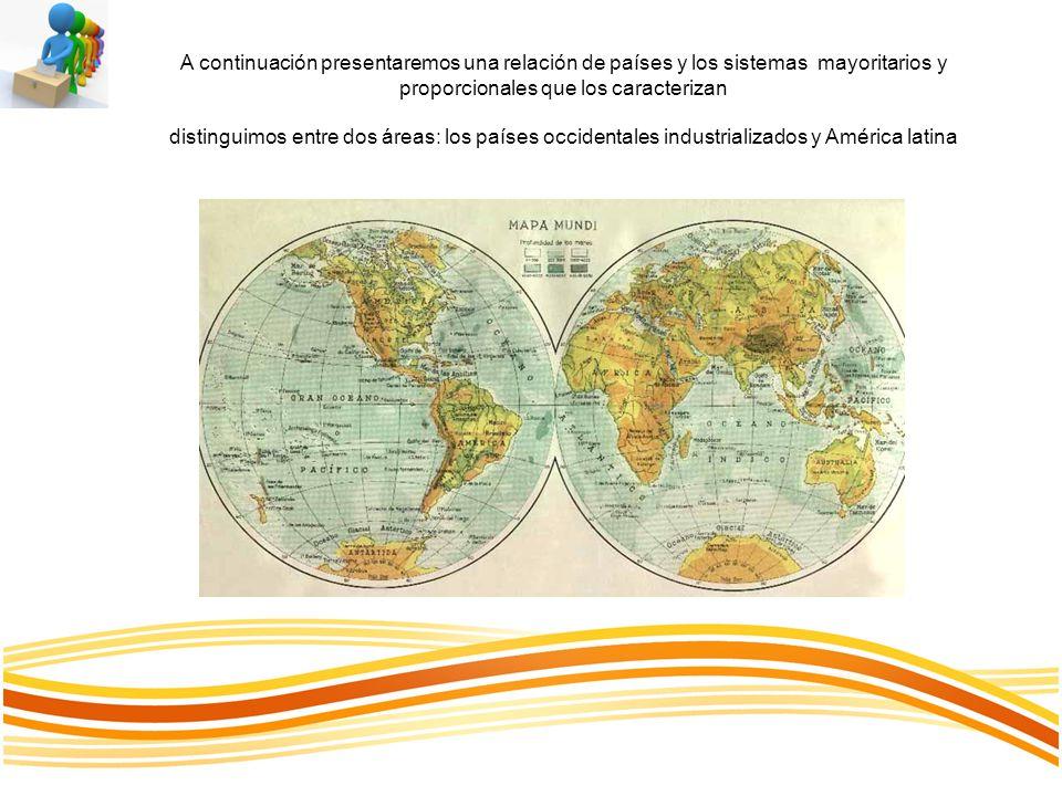 A continuación presentaremos una relación de países y los sistemas mayoritarios y proporcionales que los caracterizan distinguimos entre dos áreas: lo