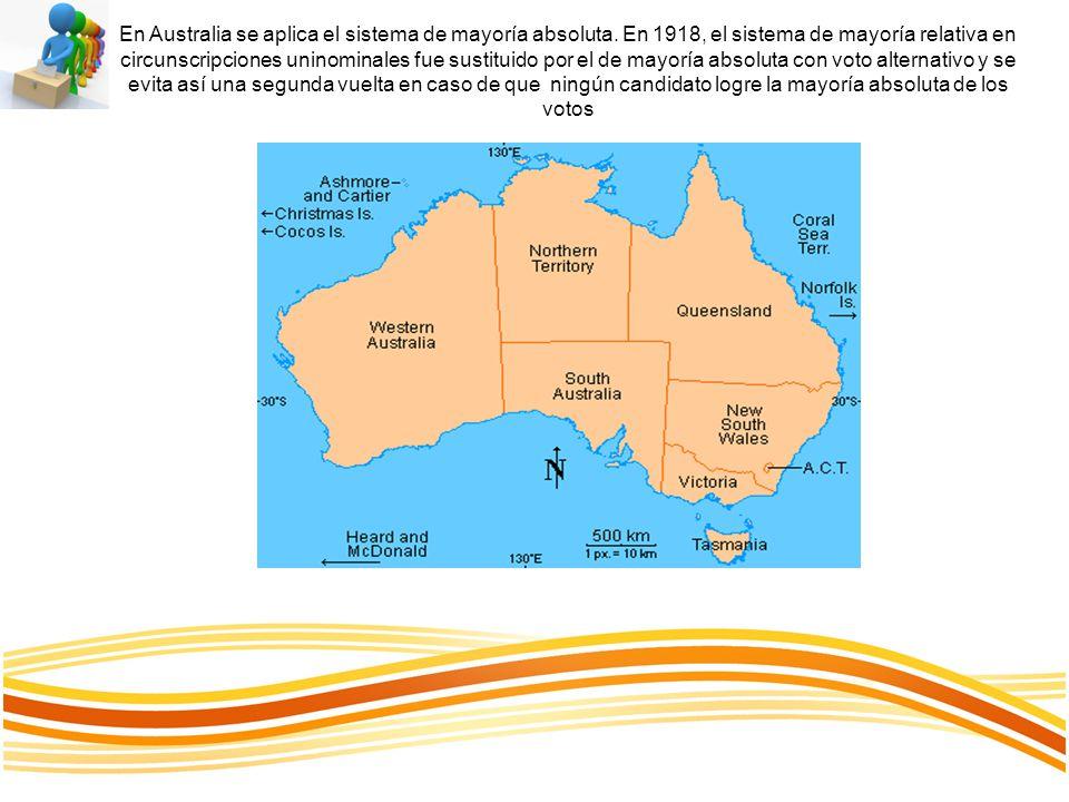 En Australia se aplica el sistema de mayoría absoluta. En 1918, el sistema de mayoría relativa en circunscripciones uninominales fue sustituido por el