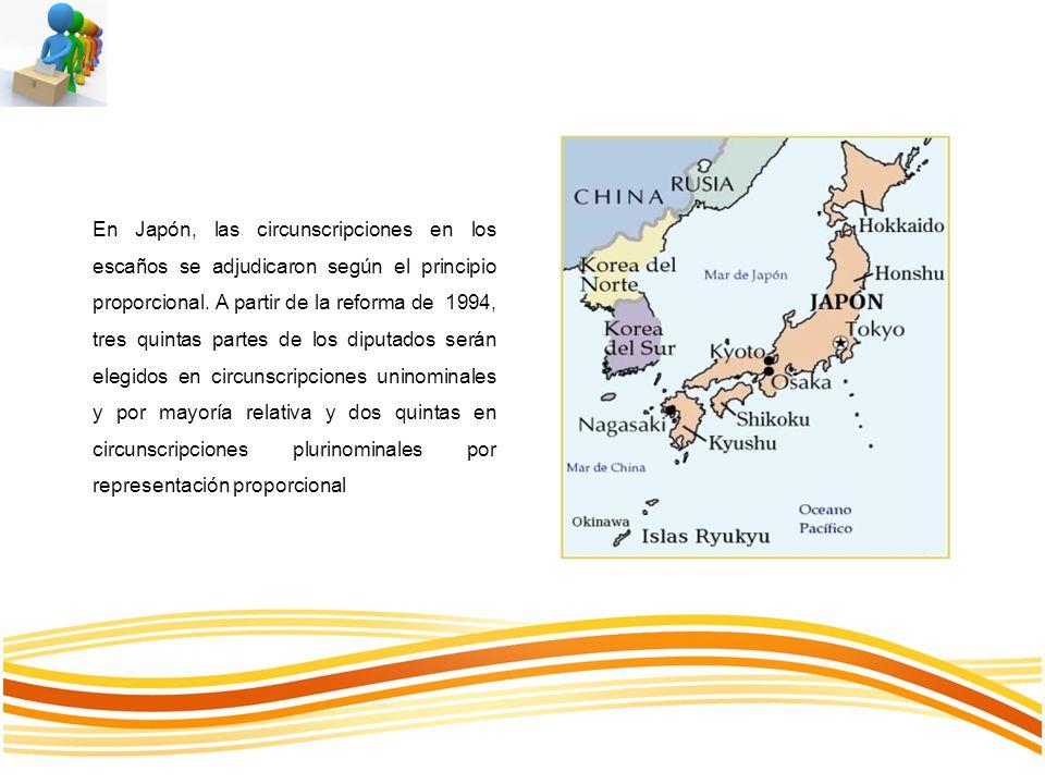 En Japón, las circunscripciones en los escaños se adjudicaron según el principio proporcional. A partir de la reforma de 1994, tres quintas partes de