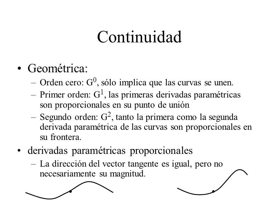 Continuidad Geométrica: –Orden cero: G 0, sólo implica que las curvas se unen. –Primer orden: G 1, las primeras derivadas paramétricas son proporciona