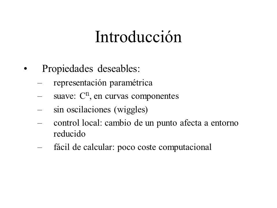 Introducción Propiedades deseables: –representación paramétrica –suave: C n, en curvas componentes –sin oscilaciones (wiggles) –control local: cambio